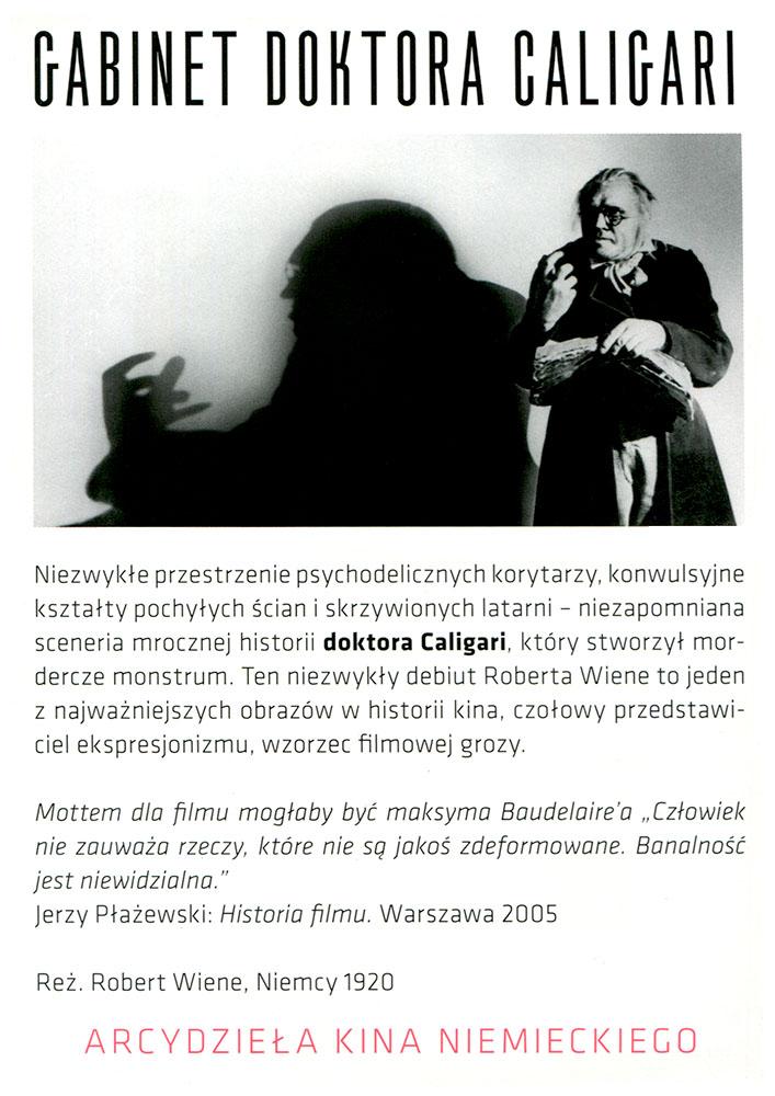 Ulotka filmu 'Gabinet Doktora Caligari (tył)'
