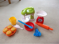 ELC toy baking set with mixer, weighing scales, mixing bowl, measuring spoons and rolling pin