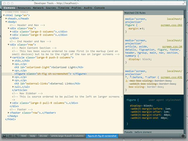 screenshot Chrome DevTools with solarized-light colorscheme