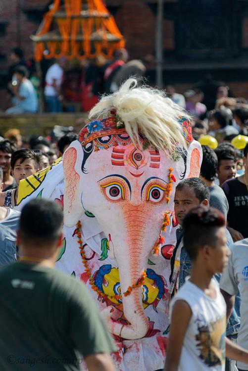 pulukisi, indra, elephant, nepal, kathmandu, festivals, jatra