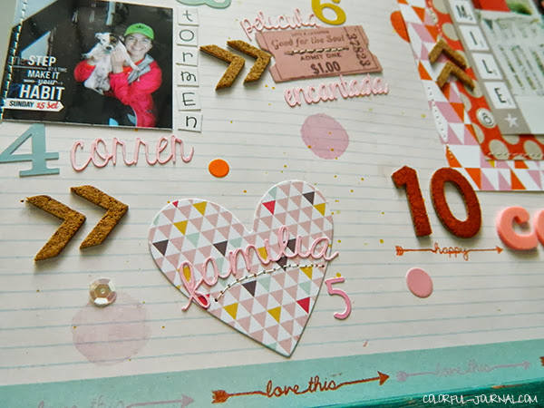Challenge layout studio calico basic grey capture brads chipboard buttons Valley High scrapbooking kit dear lizzy die cuts thickers