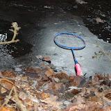 Batminton-, tennisrackets en een skon bos!