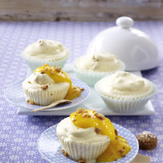 Amaretto Icebox Cupcakes with Mango Purée.