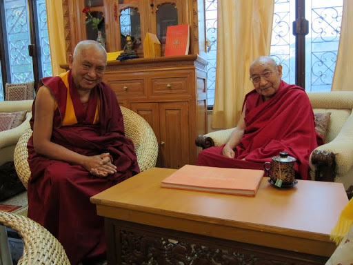 Lama Zopa Rinpoche with Dhakpa Rinpoche Dheradhun 2012
