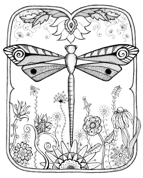 Dragonfly Garden Abstract Doodle Zentangle Zendoodle Paisley Coloring Pages  Colouring Adult Detailed Advanced Printable Kleuren Voor
