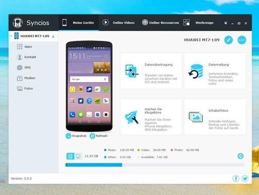 برنامج مزامنة وإدارة الملفات للأندرويد والأيفون والأيباد مع الويندوز SynciOS Manager