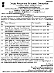 DRT Dehradun Vacancy 2016 www.indgovtjobs.in