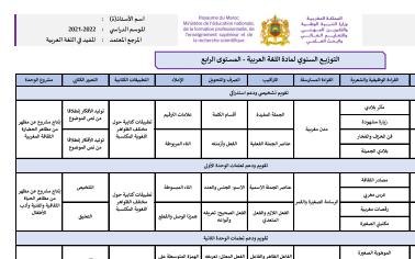 توزيع سنوي: المفيد في اللغة العربية المستوى الرابع 2021/2022