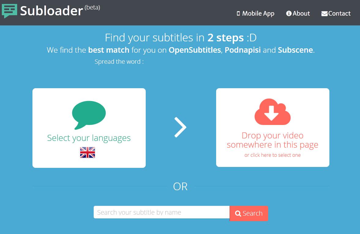 Subloader (Sürükle bırak altyazı bulma)