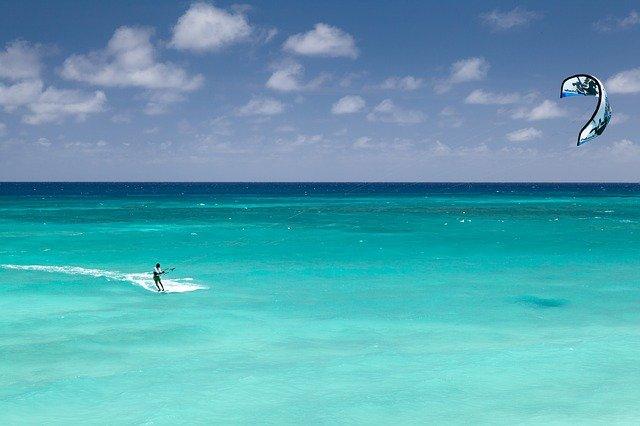 blue board kite surfing