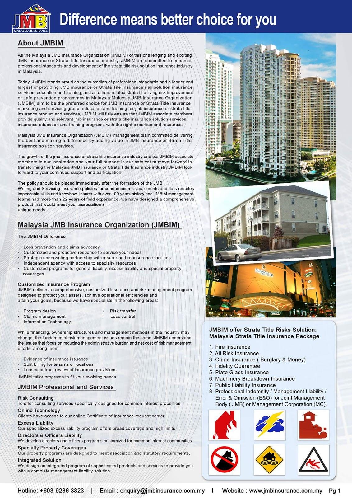 Malaysia Business Insurance : Strata Title JMB Insurance