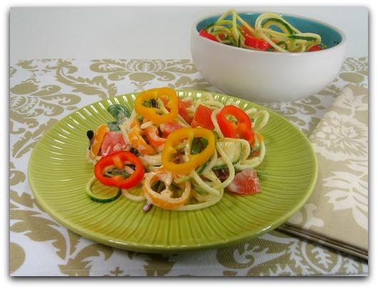 spiral zucchini pasta pepper salad