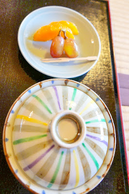 The last dish - dessert - of our set of shojin-ryori, our Buddhist vegetarian lunch at Shigetsu: Tenryu-ji's Zen Vegetarian Restaurant