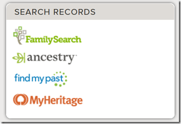 FamilySearch Family Tree one-click links to search FamilySearch.org, Ancestry.com, Findmypast.com, and MyHeritage.com