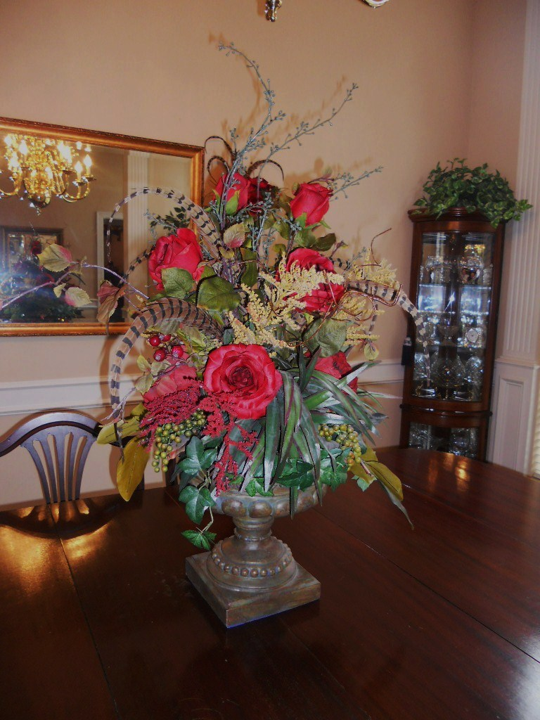Burkett blessings decorating with floral arrangements for Dining room table arrangements