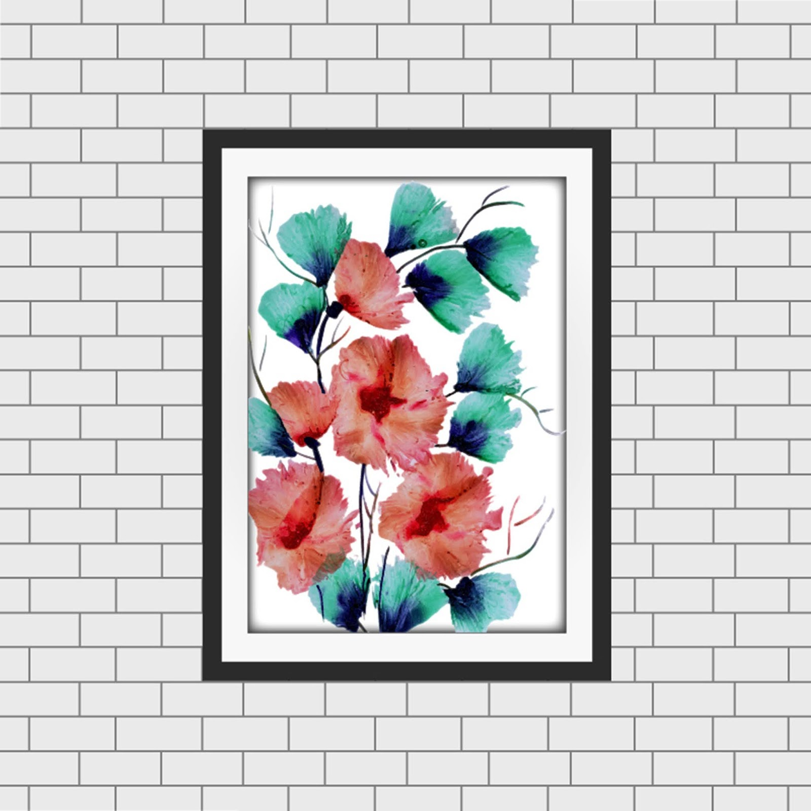 Watercolor Floral Frame Mockup Free Download Vector CDR, AI, EPS and PNG Formats