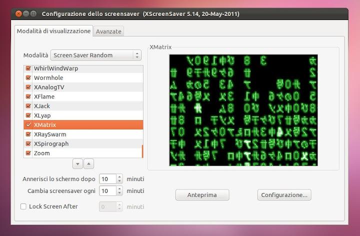 Ubuntu Oneiric: Aggiungere gli Screensaver o Salvaschermo