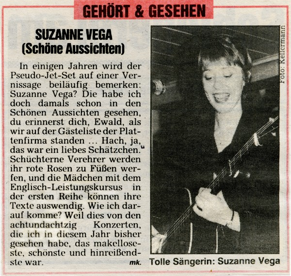 newspaper article on Suzanne Vega 1985, text and photo by Moni Kellermann