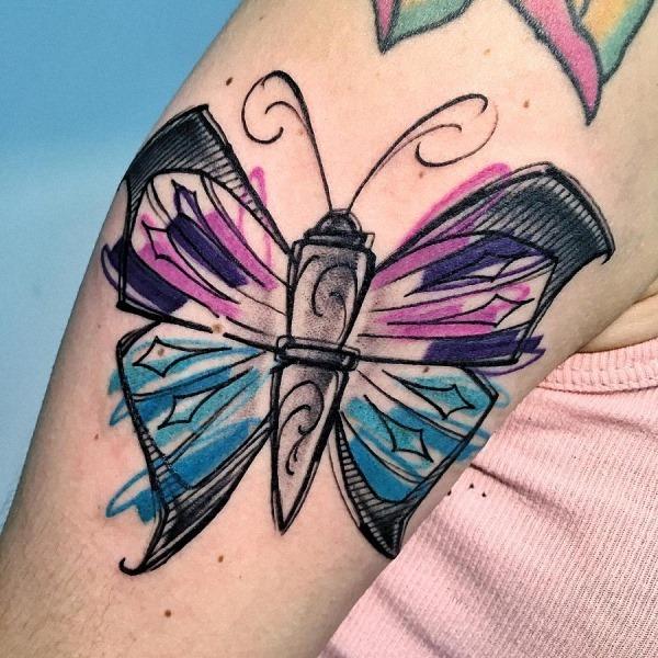 esta_aquarela_esboço_estilo_de_tatuagem