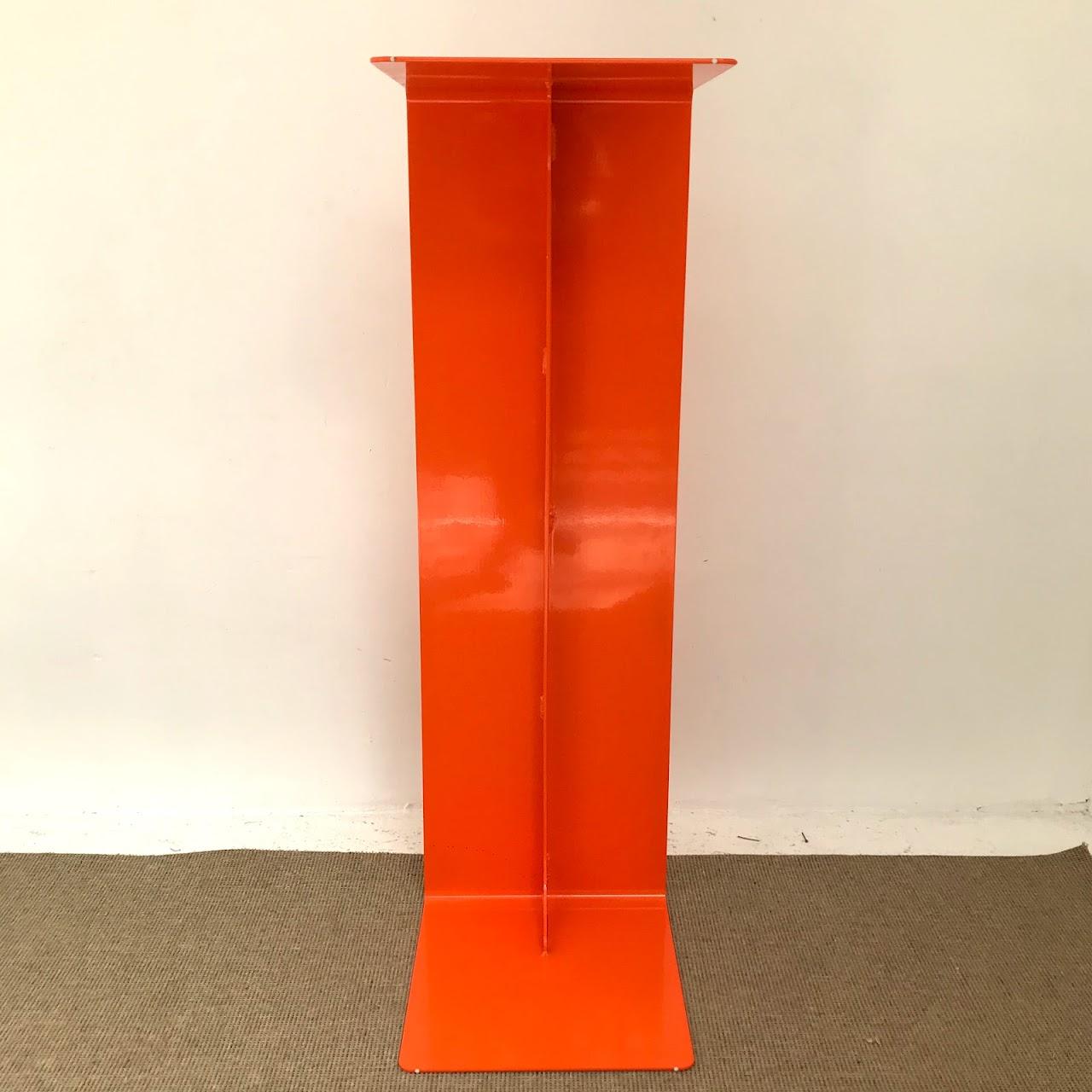 Enameled Steel Orange Waterfall Bench
