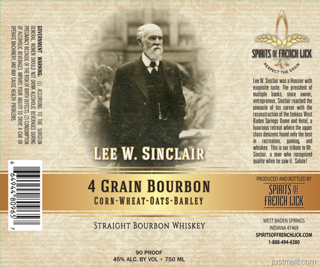 Spirits Of French Lick Lee W. Sinclair 4 Grain Bourbon