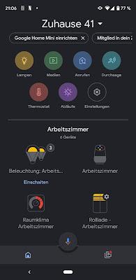 Google Home App mit aktiviertem Darkmode