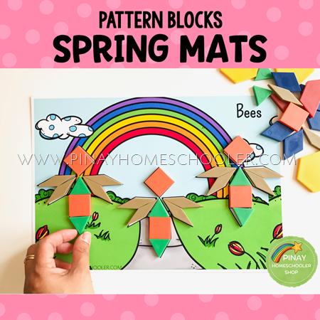 Spring Themed Pattern Blocks Puzzle Mats