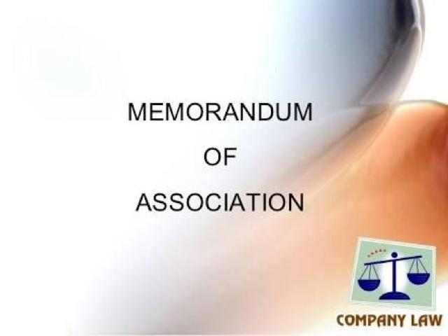 memorandum of association of a company