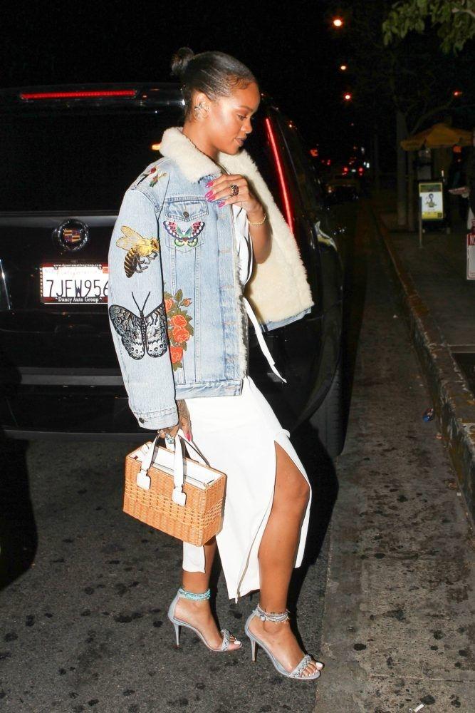 Sherpa lined denim jacket | Rihanna looks