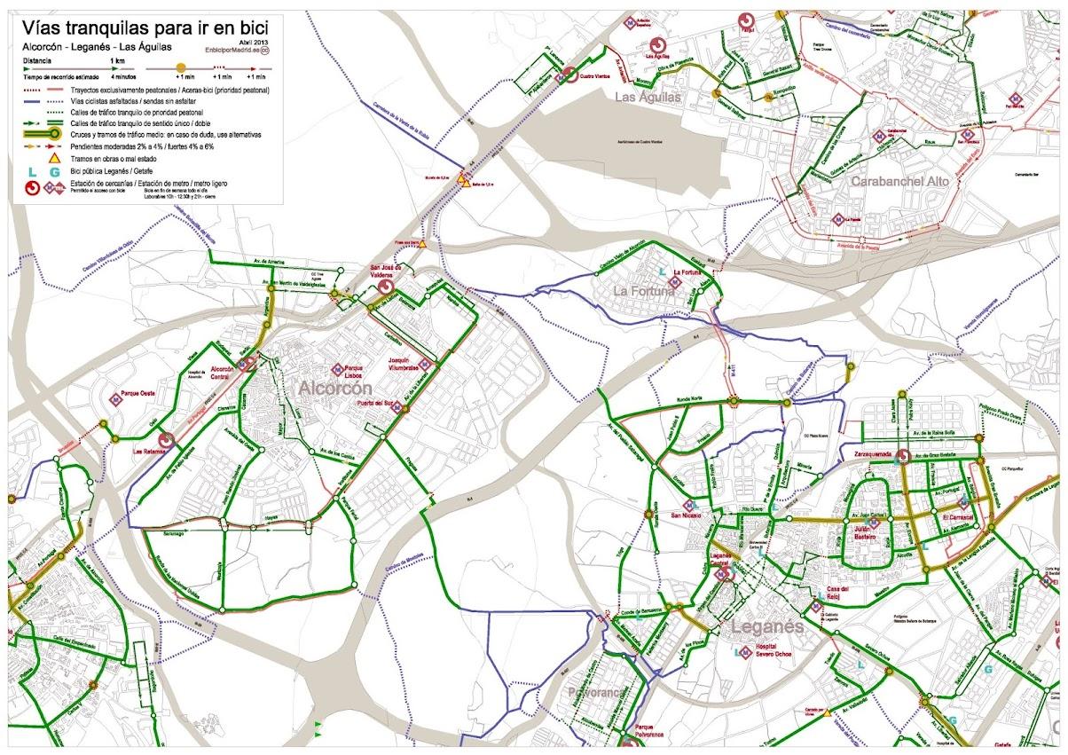 Plano de vas tranquilas de Alcorcn y Legans para ir en bici