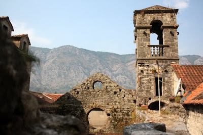 Crumbling bell tower in Kotor Montenegro