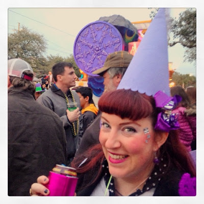 Bridget Eileen Plus Size Pin Up at the Endymion Parade in New Orleans, Mardi Gras 2016 - in Plus Size Pin Up Purple Fairy Costume from the Dollar Tree