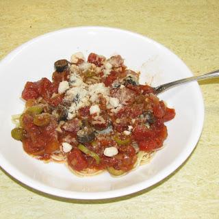 Olive Lover's Pasta aka Pasta Alla Puttanesca.