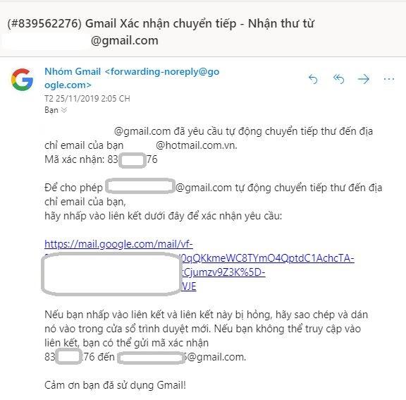 Gmail xác nhận chuyển tiếp forward mail