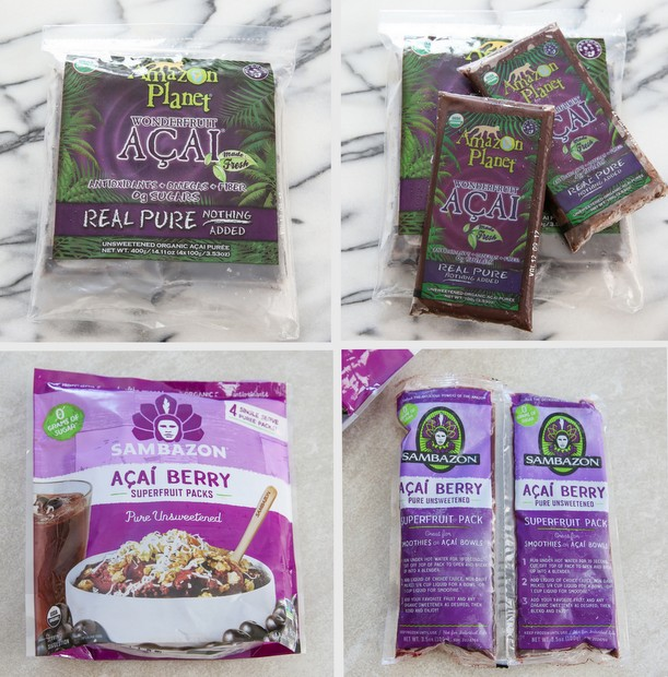 a photo collage showing two brands of acai frozen packets