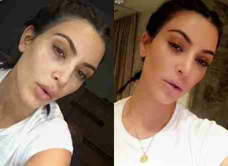 Checkout Kim Kardashian before & after makeup