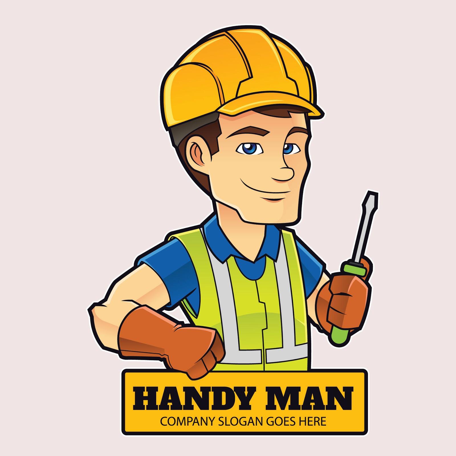 Handyman Mascot Logo Free Download Vector CDR, AI, EPS and PNG Formats