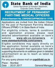 SBI Part Time Medical Officers 2017
