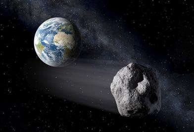ilustração de um asteroide passando próximo da Terra