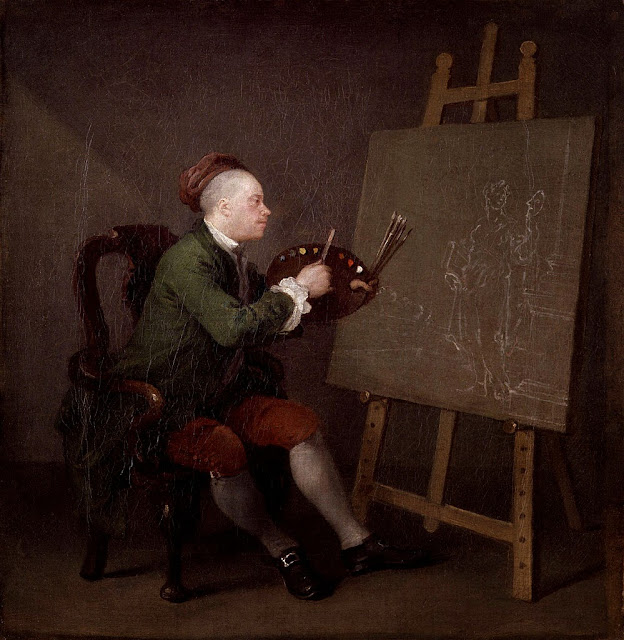 William Hogarth - A self-portrait depicting Hogarth painting Thalia, the muse of comedy and pastoral poetry, 1757–1758