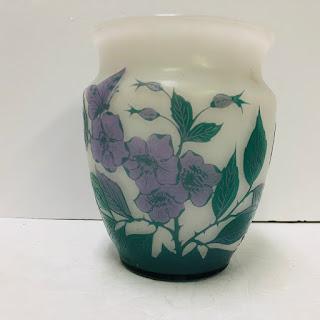 Signed Floral Art Glass Vase
