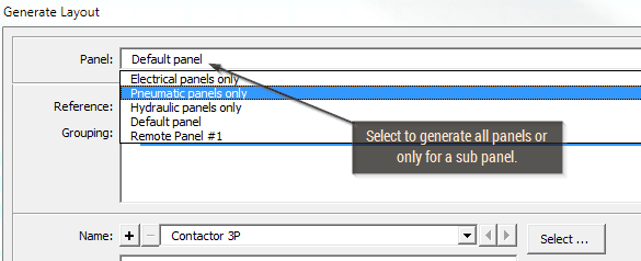 Choosing a sub panel to automatically generate panel layout