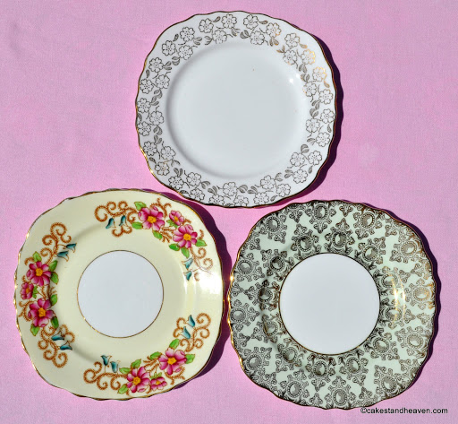 Mismatched vintage bone china tea or side plates