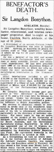 Benefactor's Death Sir L Bonython (Sydney Morning Herald (NSW Monday 23 October 1939)