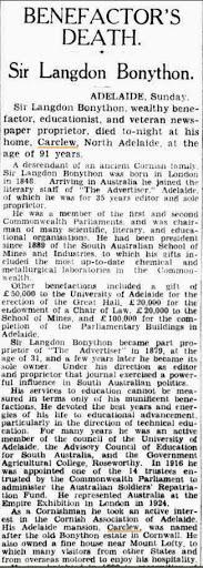 Benefactor's Death Sir L Bonython (Sydney Morning Herald (NSW Monday 23 October 1939)
