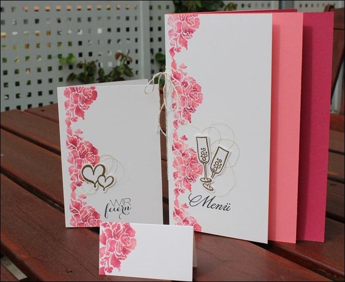 Florale Grüße Stampin Up Hochzeit Einladung Menükarte Platzkarte Pink Rosa Gold Schimmer 00
