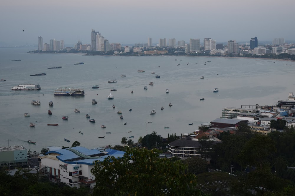 Pattaya city and boat-filled bay at sunset.... the