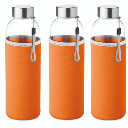 Slim glass bottle 500 ml with coloured neoprene sleeve orange