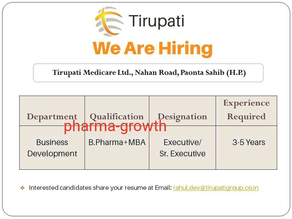 Tirupati Medicare Ltd – Urgently Opening for Business Development