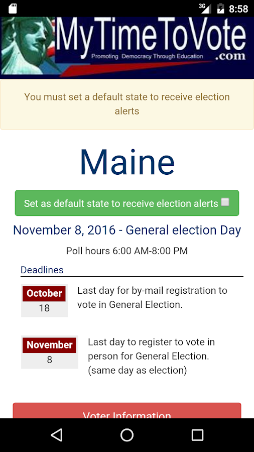 MyTimeToVote- screenshot